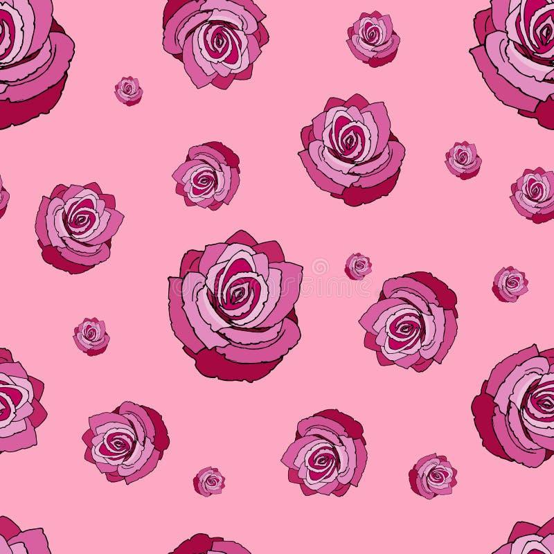 розы картины безшовные Безшовная картина с красными розами на розовой предпосылке Красные розы на розовой предпосылке иллюстрация вектора