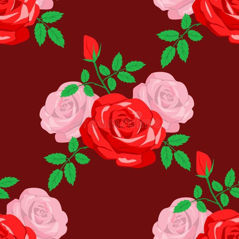 розы картины безшовные иллюстрация штока