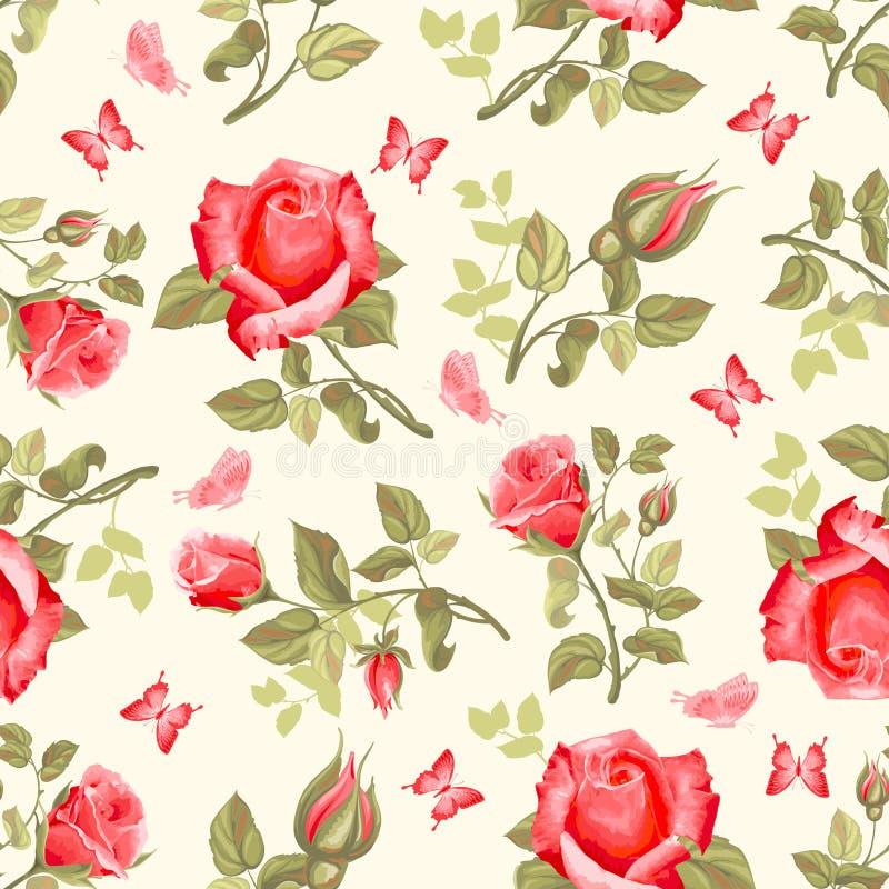 розы картины цветка ретро безшовные иллюстрация штока
