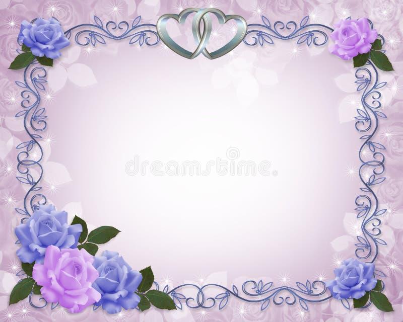 розы лаванды приглашения граници wedding иллюстрация вектора