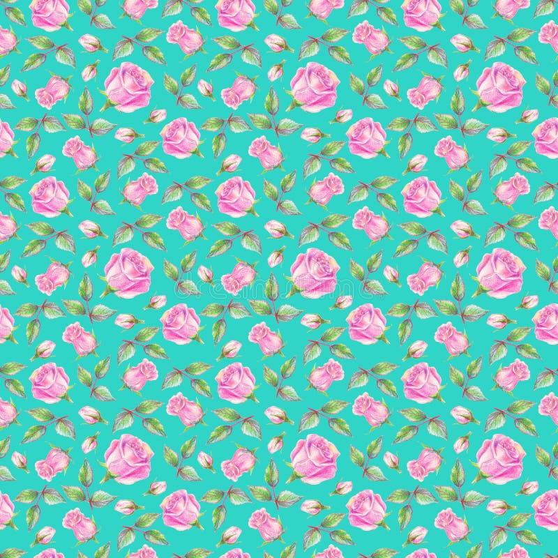 Розы на предпосылке бирюзы флористическая картина безшовная иллюстрация штока