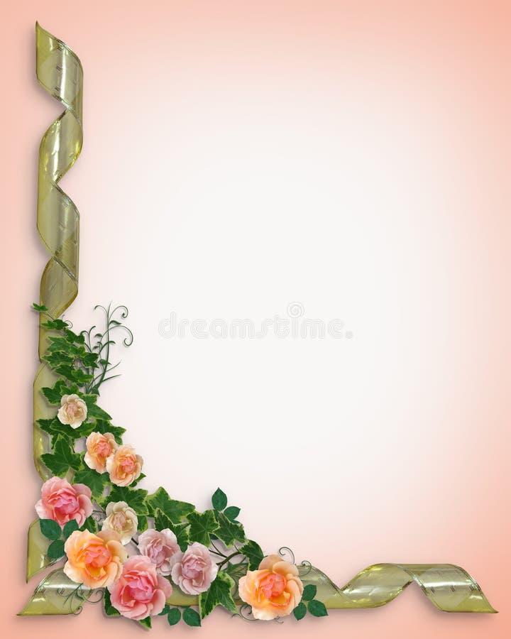 розы плюща приглашения граници иллюстрация штока