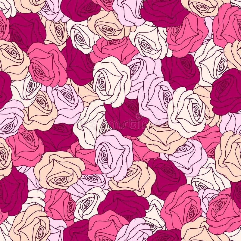 розы предпосылки флористические безшовные иллюстрация штока