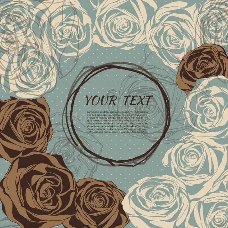 розы предпосылки флористические ретро тип иллюстрация штока