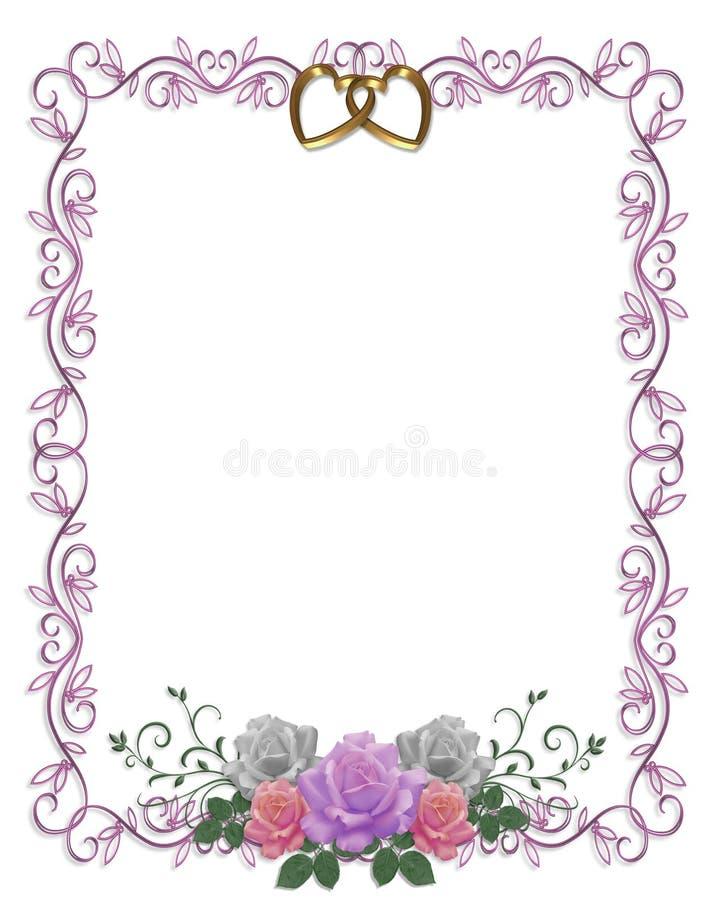 розы приглашения граници флористические wedding иллюстрация вектора