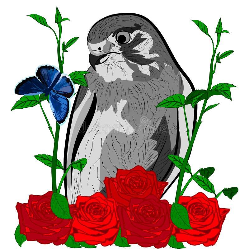 Розы птицы и голубая бабочка стоковые изображения rf