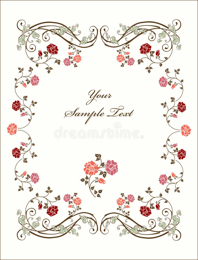 розы рамки ретро иллюстрация штока