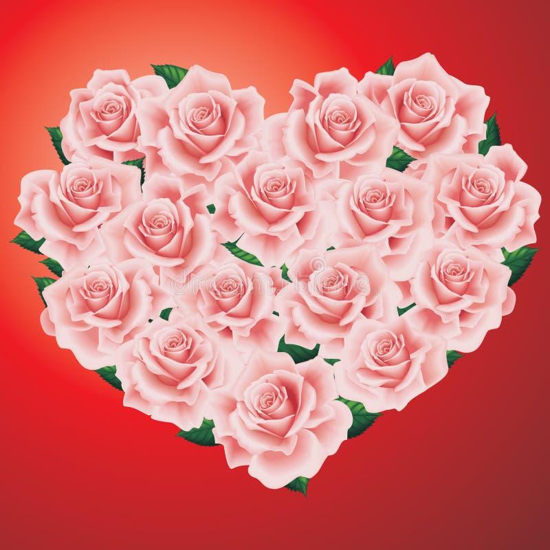 розы сердца розовые иллюстрация вектора