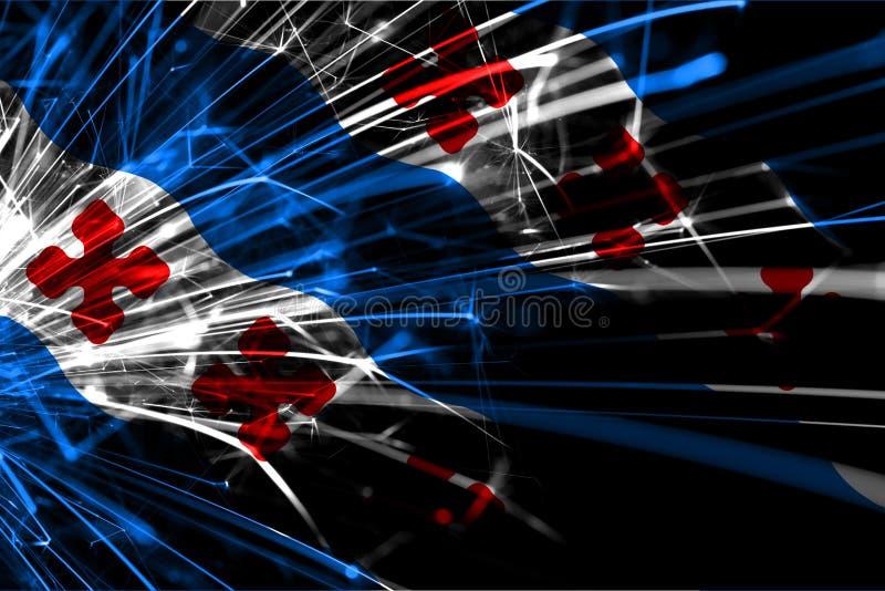 Роквилл, флаг абстрактных фейерверков Мэриленда сверкная Концепция Нового Года, рождества и национального праздника положения аме иллюстрация вектора