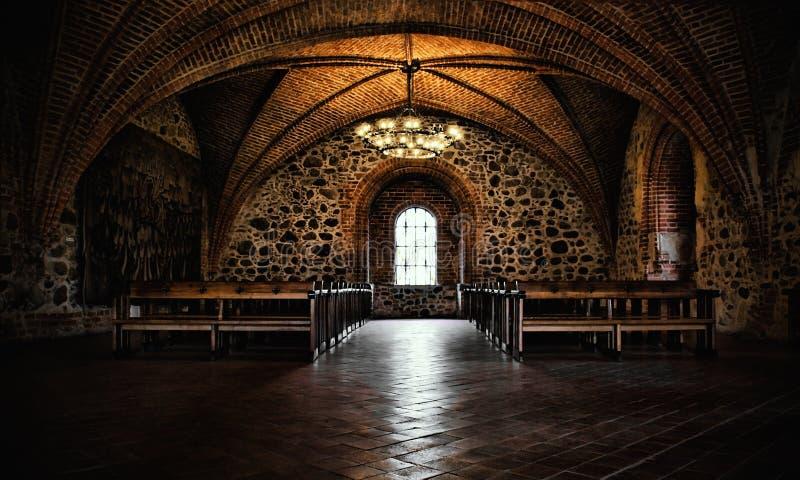 Рокируйте комнату, средневековый интерьер, готическую залу стоковое фото