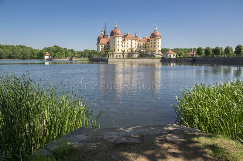 Рокируйте Moritzburg в Саксонии около Дрездена в Германии окружил прудом, озером отражения голубым, голубым небом стоковое фото