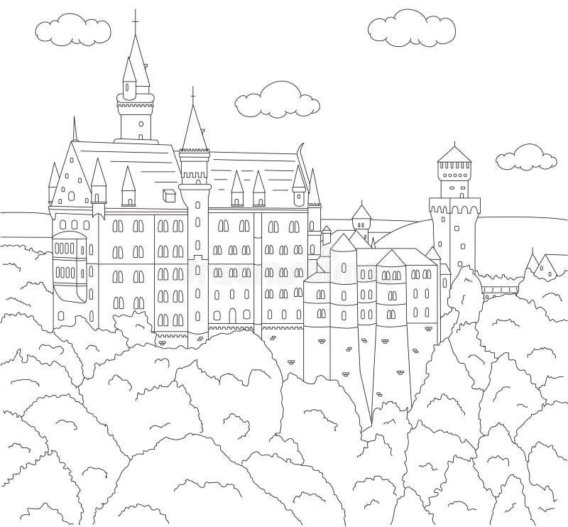 рокируйте neuschwanstein Книжка-раскраска для детей иллюстрация вектора