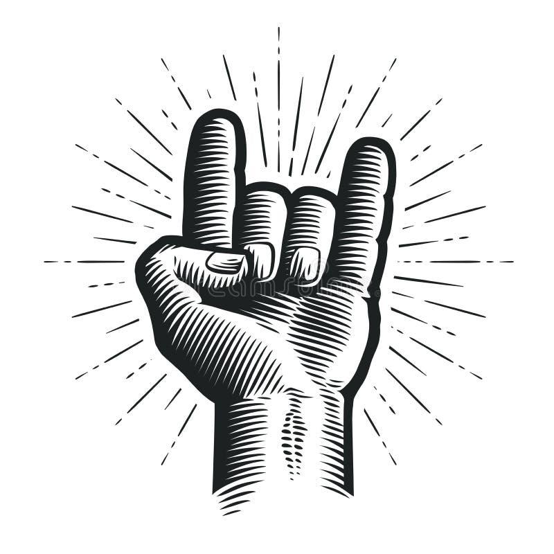 Рок-н-ролл или тяжелый метал, рожки дьявола Знак руки Иллюстрация вектора эскиза бесплатная иллюстрация