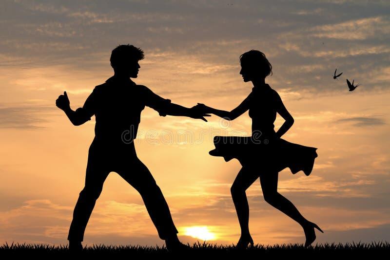 Рок-н-ролл пар танцуя и буги буг бесплатная иллюстрация