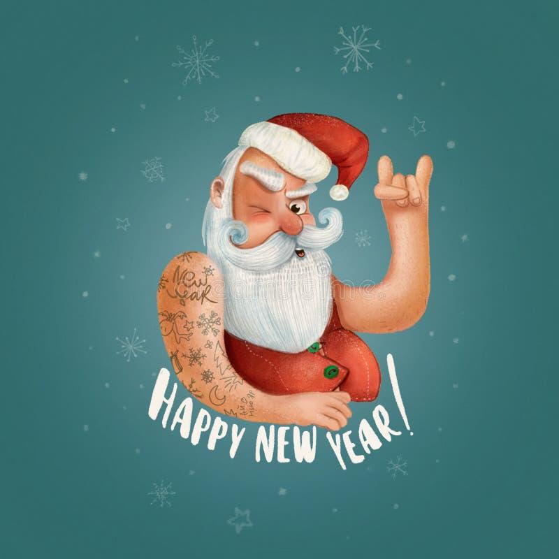 Рок-н-ролл Santa Claus Плакат битника рождества для партии или поздравительной открытки плохая предпосылка плаката xmas santa иллюстрация вектора