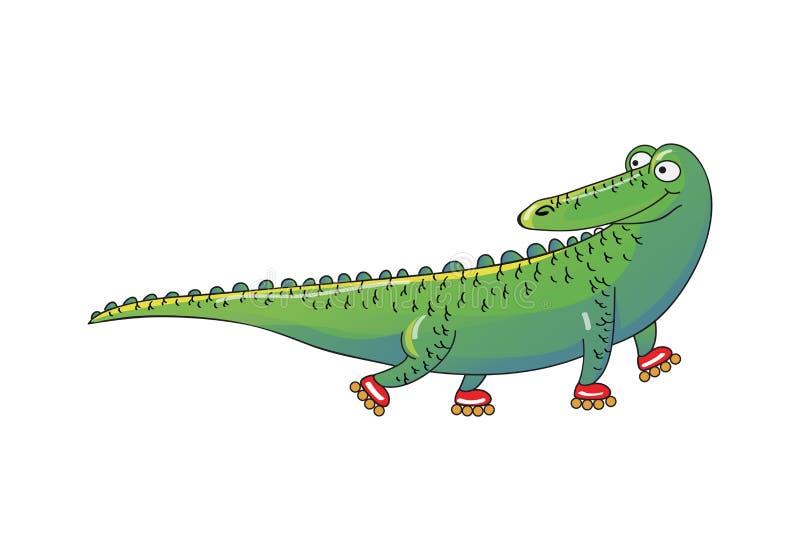 Ролик-коньки зеленого крокодила ехать Humanized животное аллигатор смешной Дизайн вектора шаржа бесплатная иллюстрация