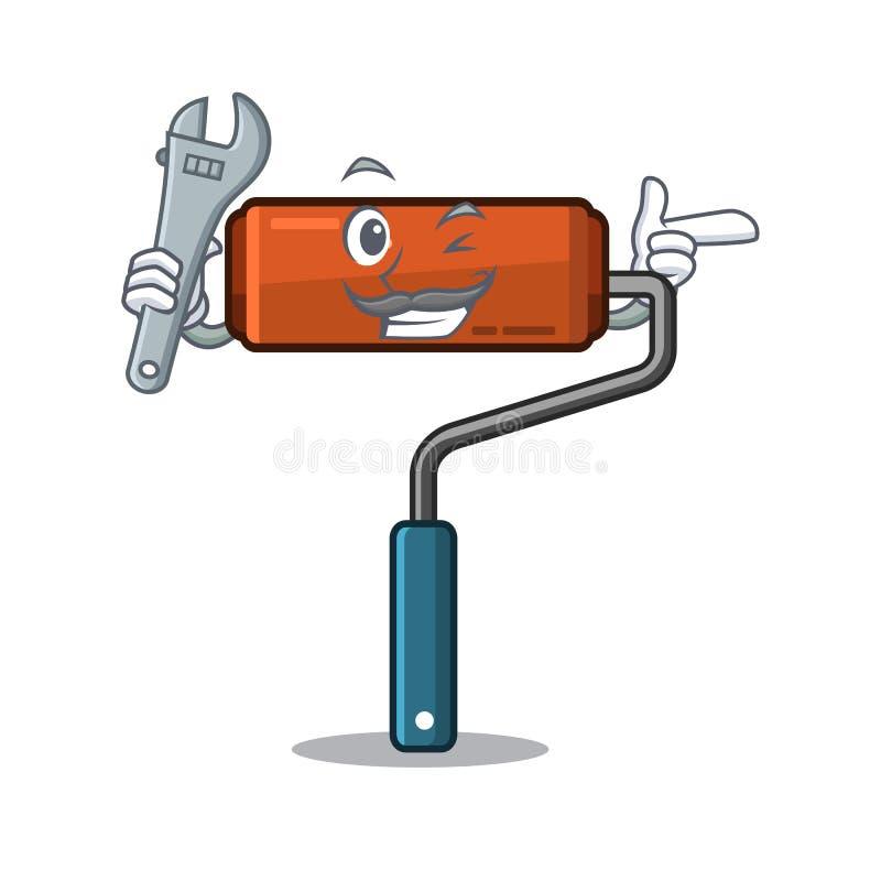 Ролик краски механика помещенный в toolbox мультфильма иллюстрация вектора