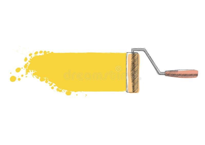 Ролик краски покрашено бесплатная иллюстрация