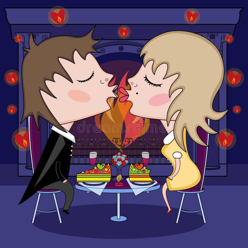 Романтичная дата на день валентинки иллюстрация вектора