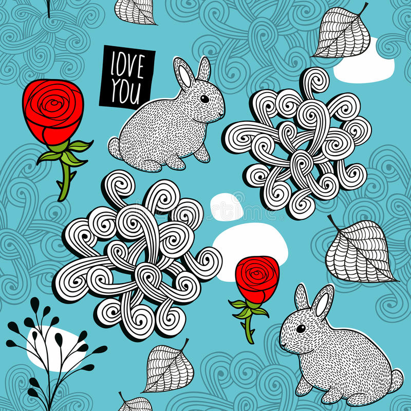 Романтичная безшовная картина с милыми кроликами и красными розами иллюстрация штока