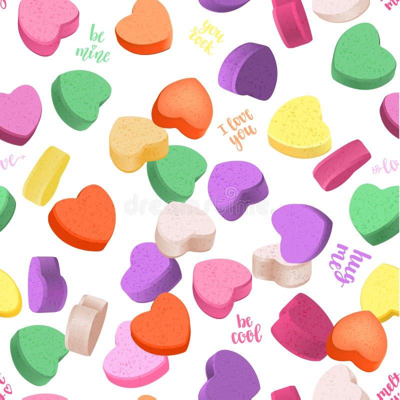 Романтичная безшовная картина с сердцами и рукописная литерность для вашего дизайна бесплатная иллюстрация
