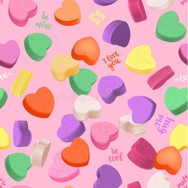 Романтичная безшовная картина с сердцами и рукописная литерность для вашего дизайна иллюстрация штока