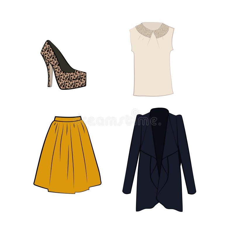 Романтичная белая блузка, flared юбка midi, кардиган, ботинок с печатью леопарда бесплатная иллюстрация