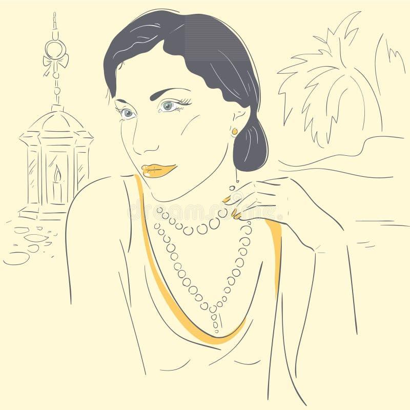 Романтичная девушка иллюстрация вектора