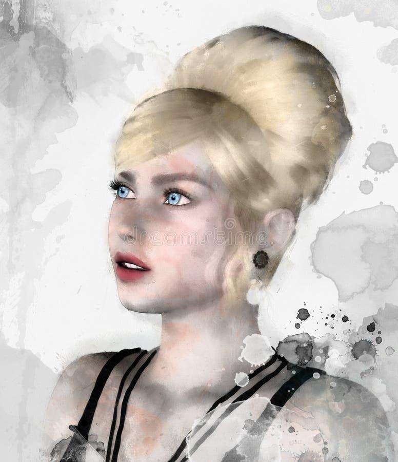 Романтичная иллюстрация блондинкы фантазии иллюстрация штока