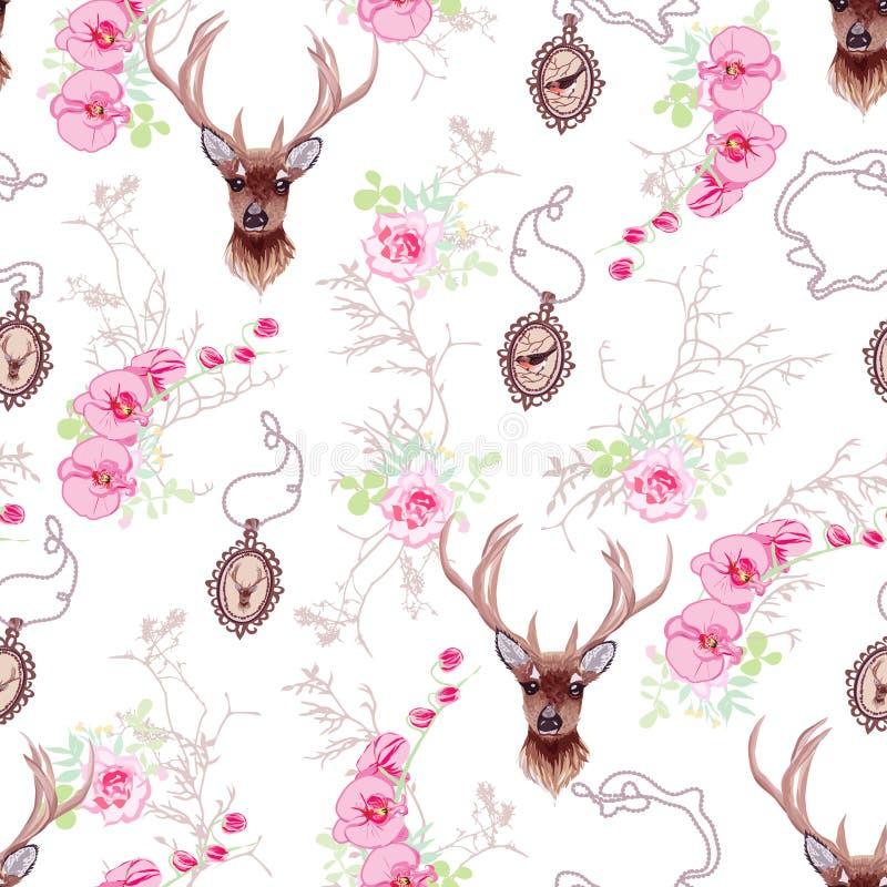 Романтичная картина вектора с северным оленем, орхидеями, розами, медальоном бесплатная иллюстрация