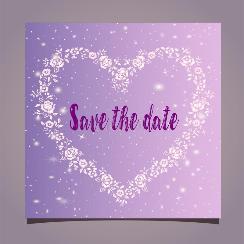 Романтичная карточка - приглашение к свадьбе - сохраньте дату Милая в форме сердц рамка на предпосылке градиента бесплатная иллюстрация