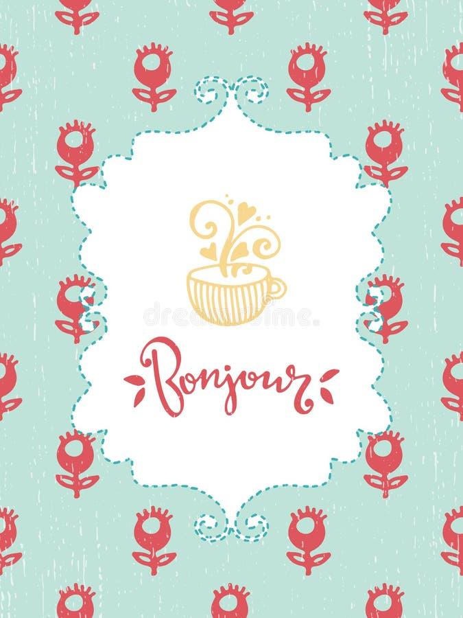 Романтичная карточка сбора винограда иллюстрация штока