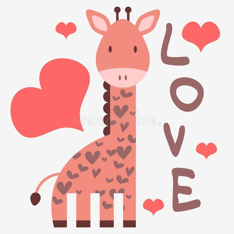 Романтичная карточка с giraffe иллюстрация вектора