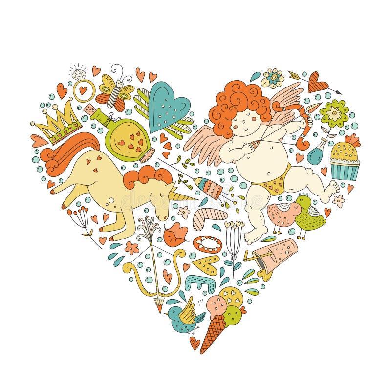 Романтичная концепция карточки бесплатная иллюстрация