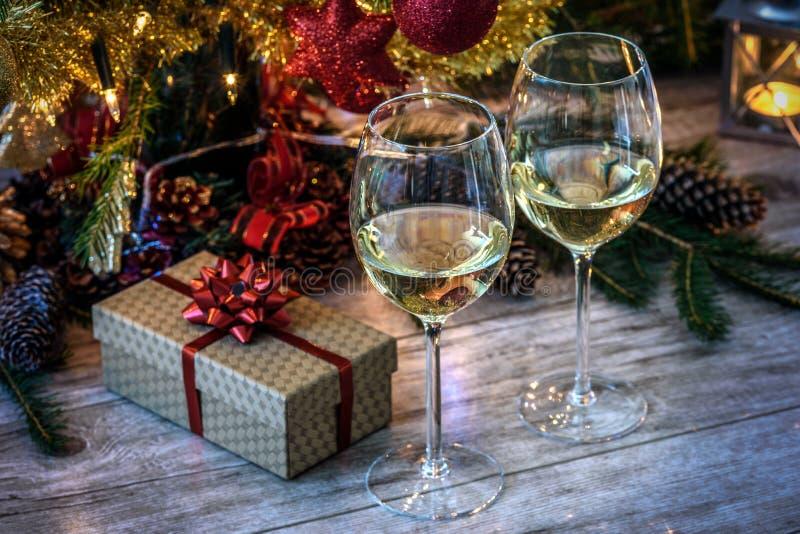 Романтичная ноча рождества в винтажном стиле стоковое фото