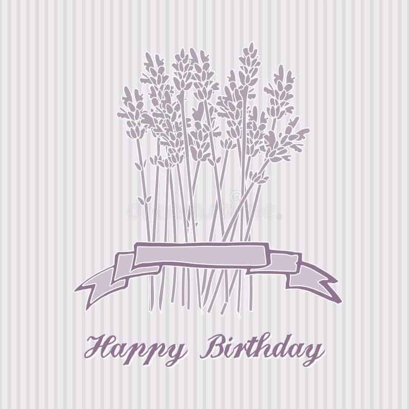Романтичная поздравительая открытка ко дню рождения с букетом лаванды, приглашение, иллюстрация штока