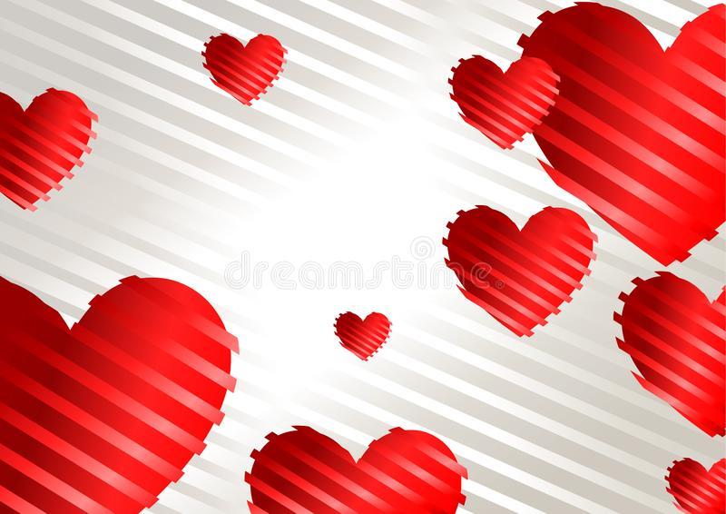 Романтичная предпосылка с красными сердцами на белой предпосылке иллюстрация вектора