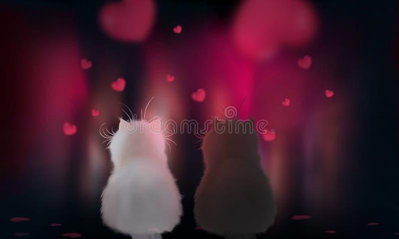 Романтичная предпосылка с сердцами и волшебными фонариками ночи 2 кота во взгляде любов на красном запачканном bokeh, света почти иллюстрация вектора