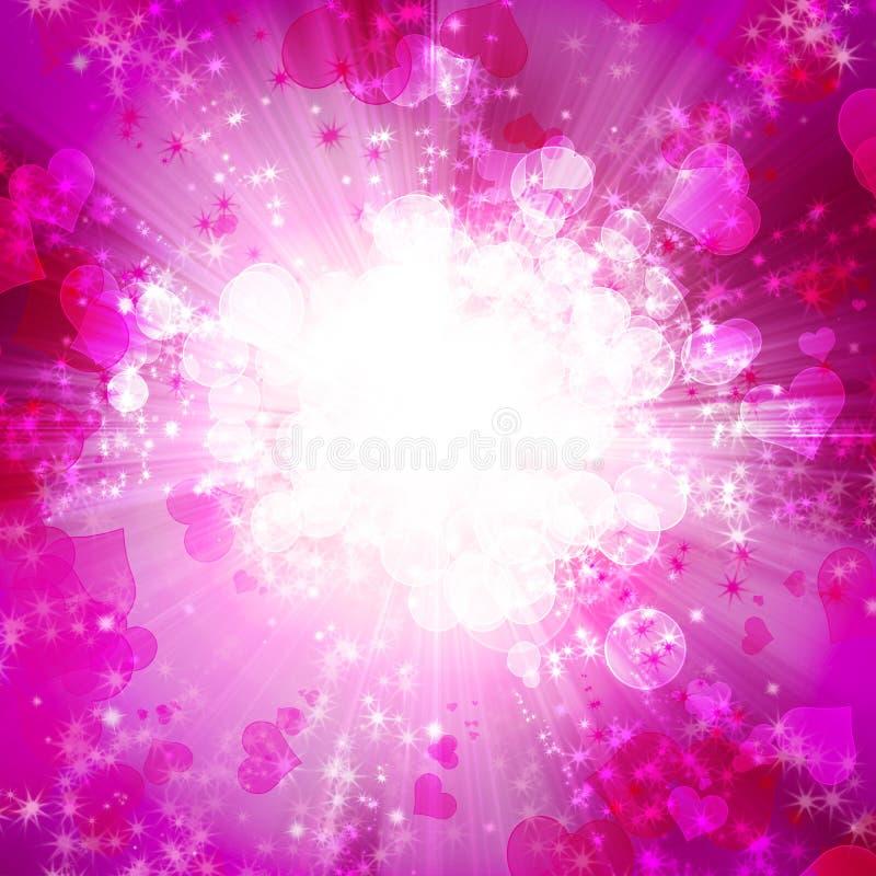Романтичная предпосылка с сердцами и звездами иллюстрация вектора