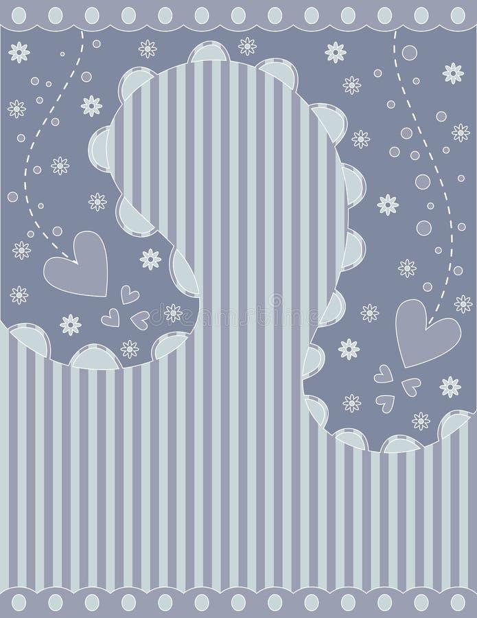 Романтичная предпосылка с нашивками, сердцами и цветками иллюстрация вектора