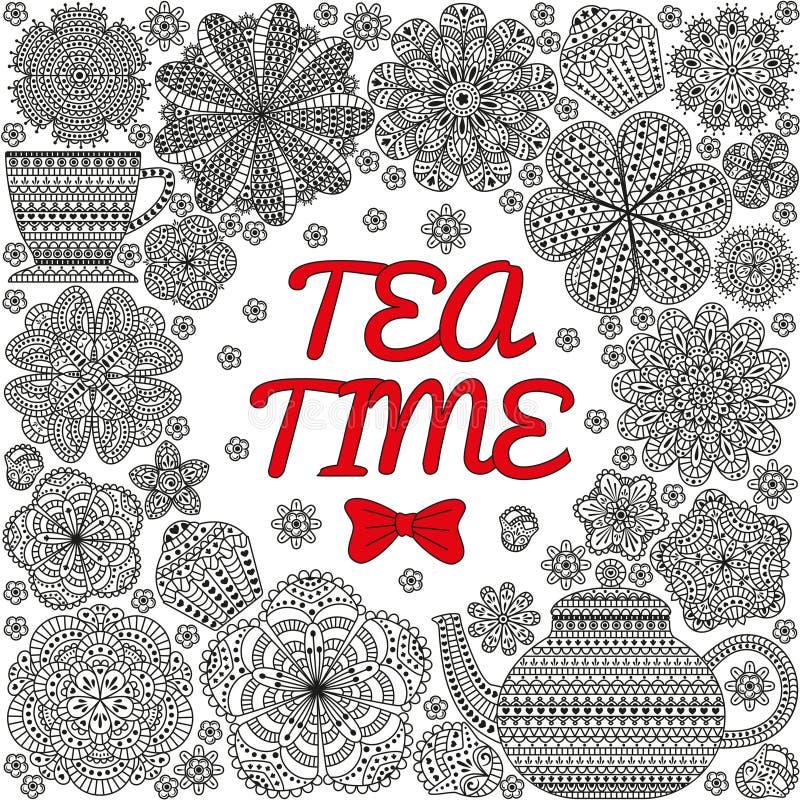 Романтичная предпосылка с чайником, чашкой, булочками, цветками иллюстрация вектора