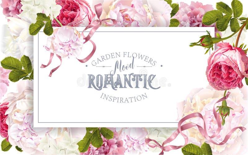Романтичная рамка сада иллюстрация штока