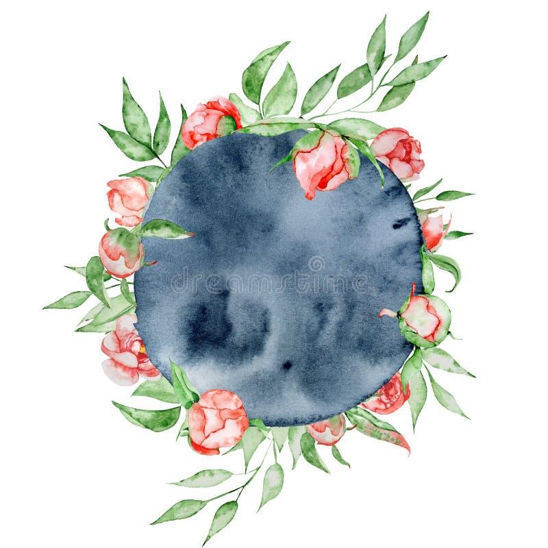 Романтичная рамка с шаблоном карточки цветков Пионы акварели с зеленым цветом выходят на предпосылку индиго иллюстрация иллюстрация вектора