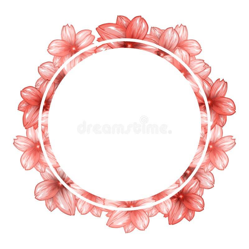 Романтичная рамка фото круга с розовой вишней цветет иллюстрация штока