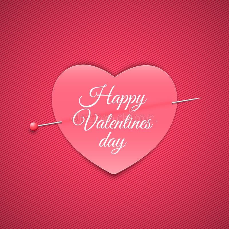 Романтичное примечание в форме сердца с штырем Валентайн дня счастливое s Розовая предпосылка с картиной линий Примечание для пол иллюстрация вектора