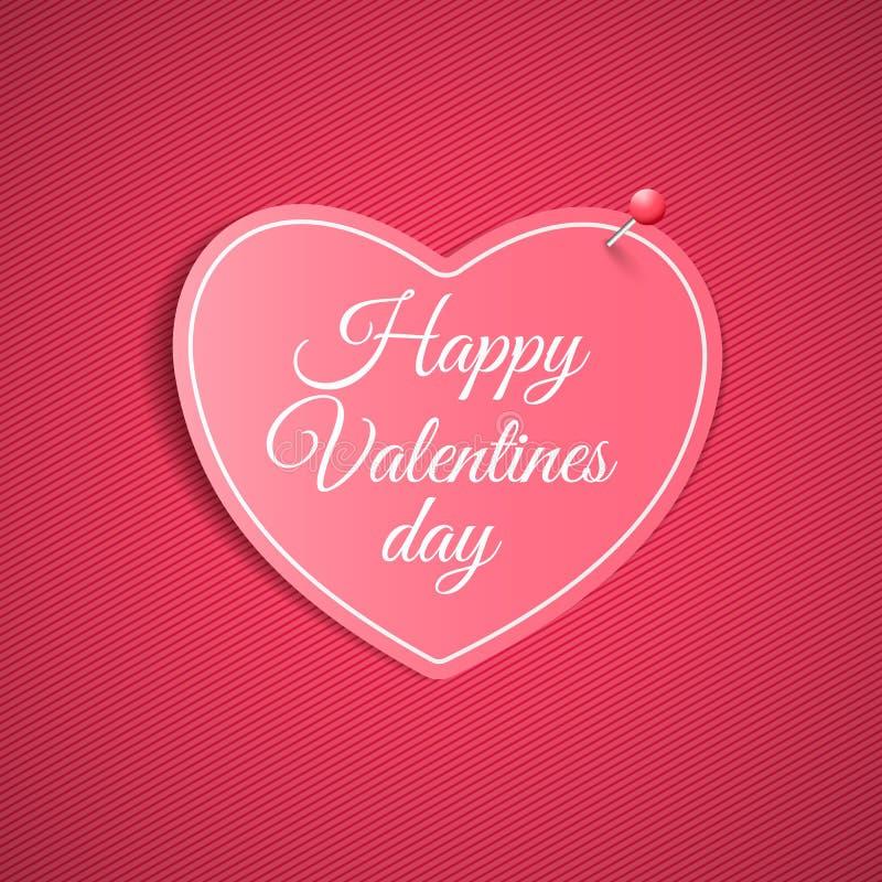 Романтичное примечание от бумажного сердца с штырем Валентайн дня счастливое s Розовая предпосылка с картиной линий Примечание дл бесплатная иллюстрация