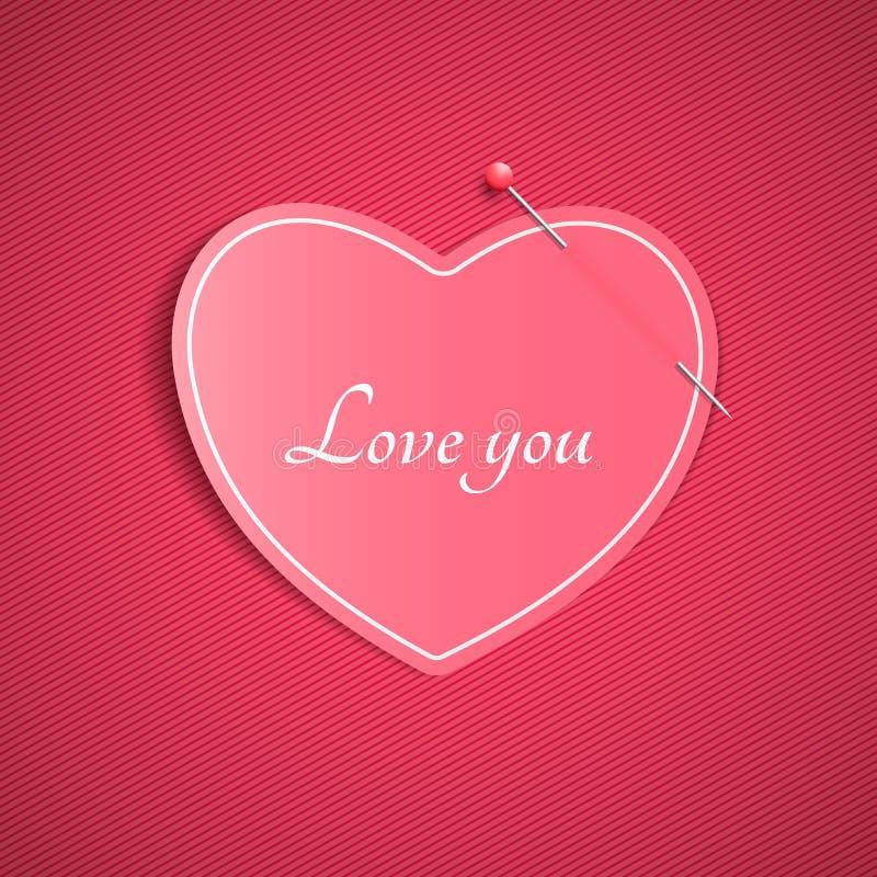 Романтичное примечание от бумажного сердца с штырем изолированные фоновые изображения 3d любят белизну вы Валентайн дня счастливо иллюстрация вектора