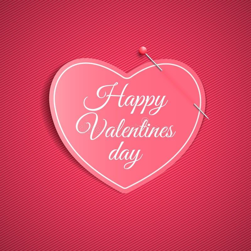 Романтичное примечание от бумажного сердца с штырем Праздничный графический элемент Валентайн дня счастливое s Розовая предпосылк иллюстрация вектора