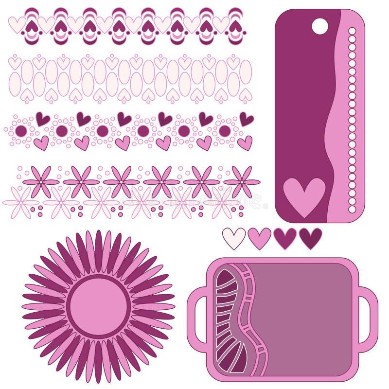 Романтичное розовое собрание бирки, отделки и сердца бесплатная иллюстрация