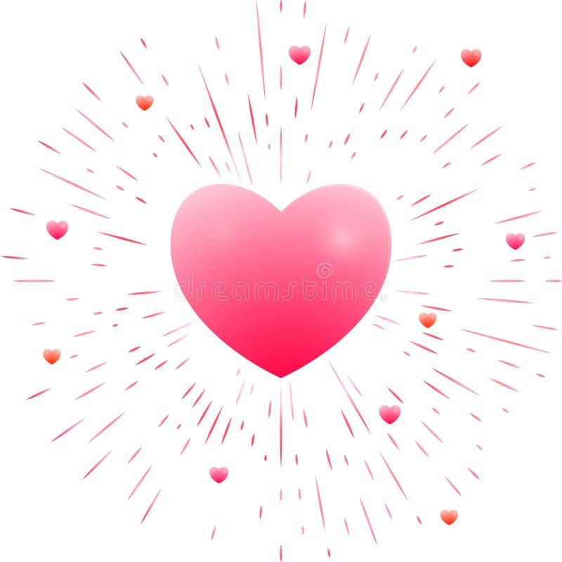 романтичное сердца розовое иллюстрация вектора